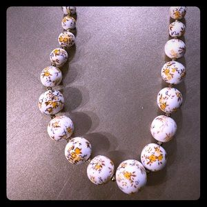 Anthropologie Jewelry - Vintage Anthro Yellow Floral White Bead Necklace